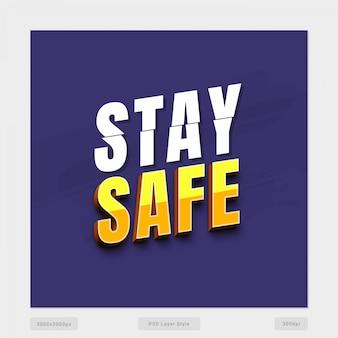 Restez en sécurité effet de style de texte 3d