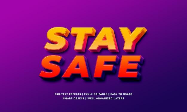 Restez en sécurité effet de style de texte