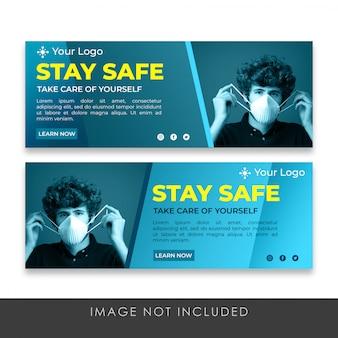 Restez en sécurité facebook couverture collection premium modèle psd