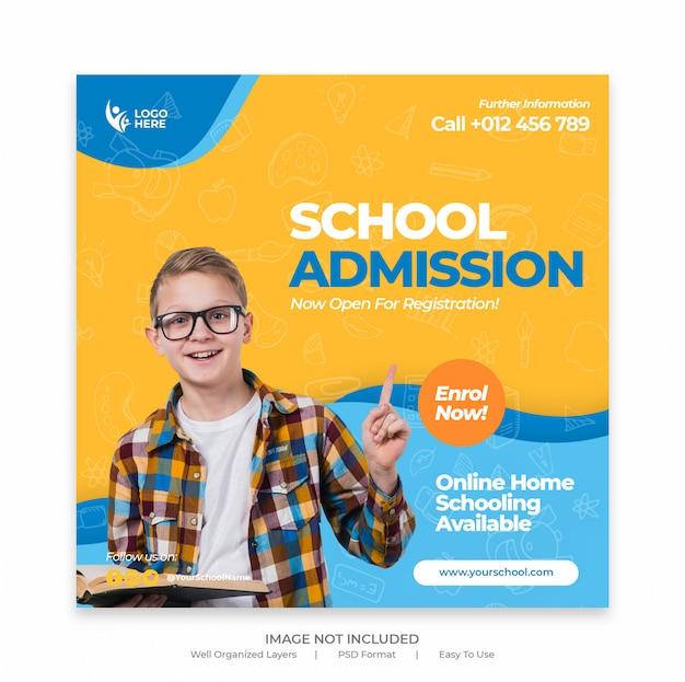 Retour à l'admission à l'école marketing modèle de publication ou bannière de médias sociaux