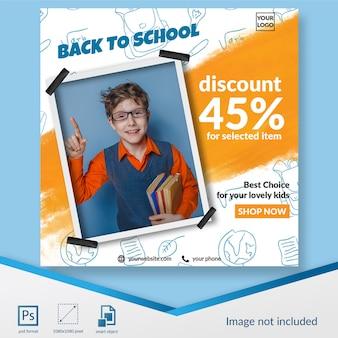 Retour à la bannière de l'école avec offre de réduction sur les médias sociaux