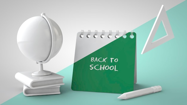 Retour à l'école maquette rendu 3d calendrier de bureau livres globe règle et crayon