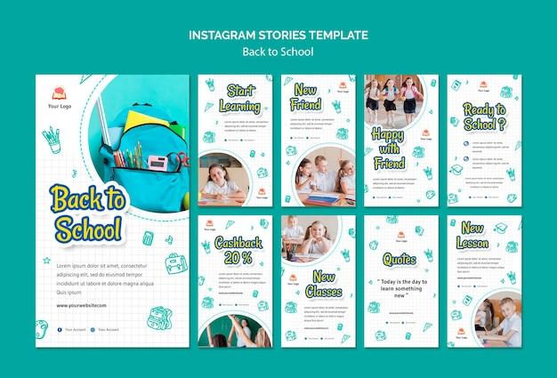Retour à l'école modèle d'histoires instagram