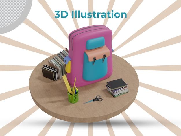Retour à l'école rendu 3d design isolé
