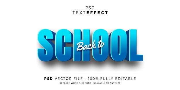 Retour à l'école texte effet style premium psd