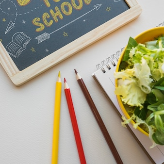 Retour à la maquette de l'école avec l'ardoise et la salade