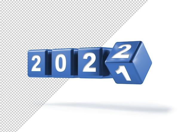 Retourner les cubes pour le changement de nouvelle année, la maquette de 2021 à 2022
