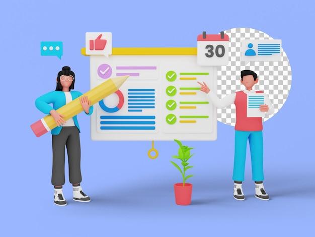 Réunion d'affaires, présentation du projet. illustration 3d