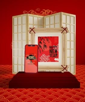Réveillon du nouvel an chinois avec maquette du téléphone