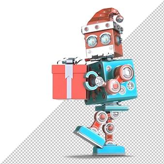 Robot santa marchant avec une énorme boîte-cadeau