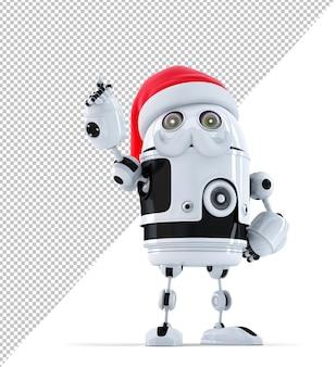 Robot santa pointant vers un objet invisible