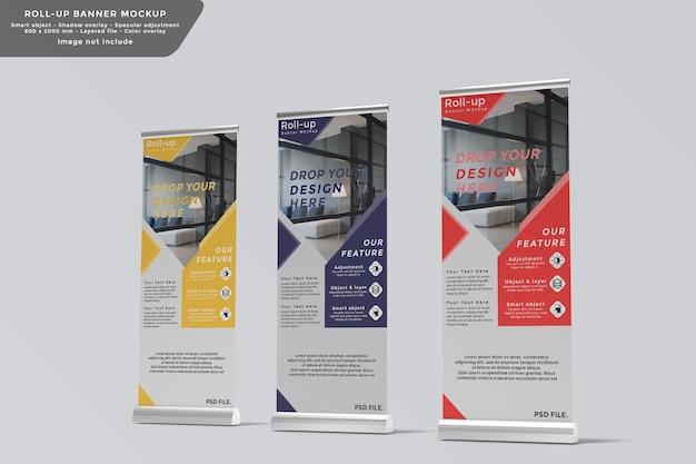 Roll up banner maquette vue latérale de conception