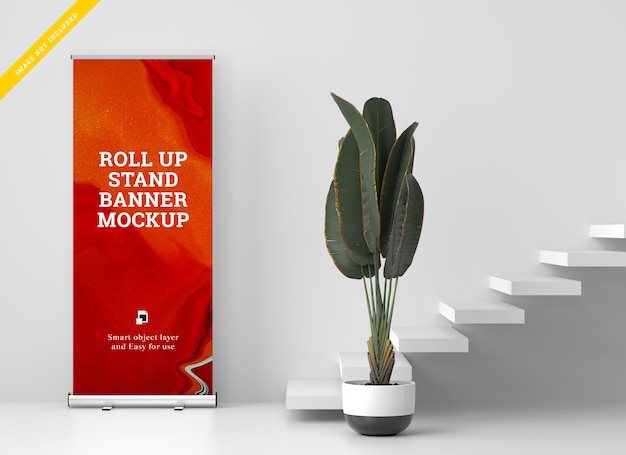 Roll up banner stand mockup. modèle psd.
