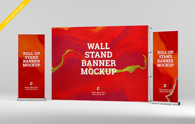 Roll up banner et wall stand banner mockup.