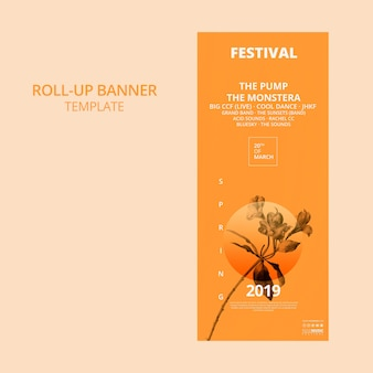 Roll up template bannière avec concept de festival de printemps