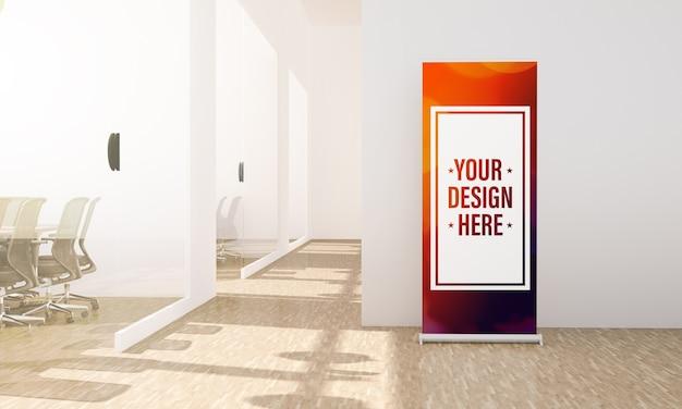 Rollup dans une maquette de hall de bureau minimaliste