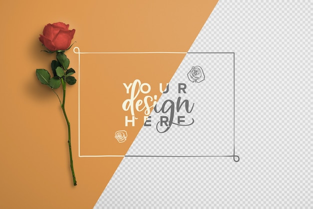 Rose sur maquette de fond de tige