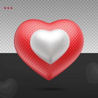Rouge et blanc réaliste 3d comme coeur