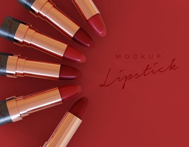 Rouge à lèvres cosmétique et maquette de fond