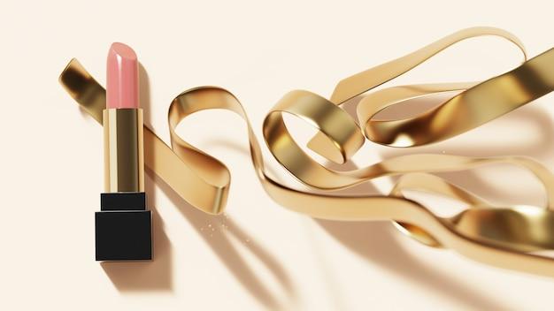 Rouge à lèvres de luxe avec ruban d'or.