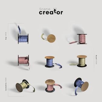 Rouleau de ruban variété angles créateur de scène de noël