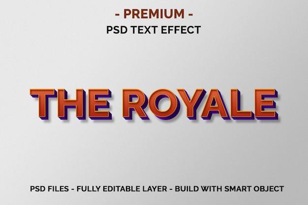 Royale premium orange effets de texte 3d
