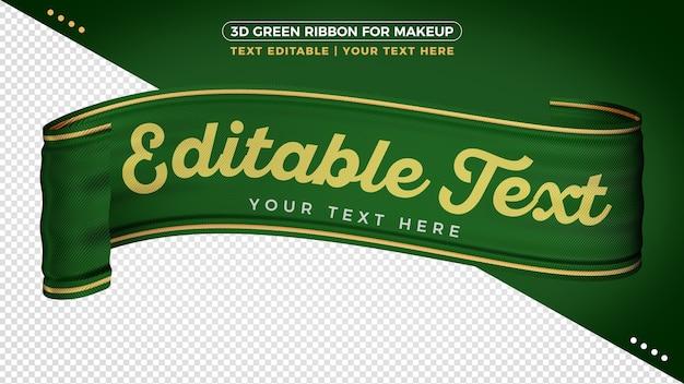 Ruban 3d vert décoratif pour la composition