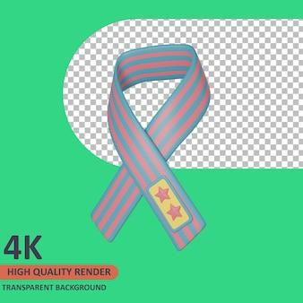 Ruban 3d vétéran icône illustration rendu de haute qualité