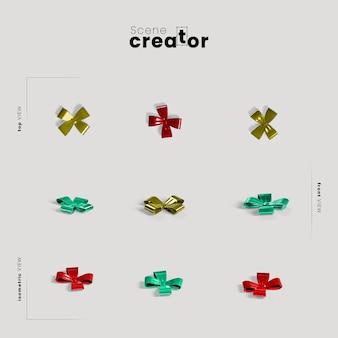 Ruban coloré arc variété angles créateur de scène de noël