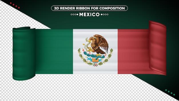 Ruban de drapeau 3d du mexique pour la composition
