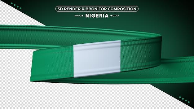 Ruban de rendu 3d du nigeria pour la composition