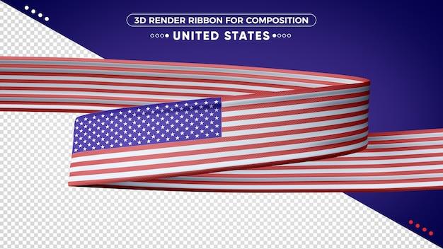 Ruban de rendu 3d des états-unis pour la composition