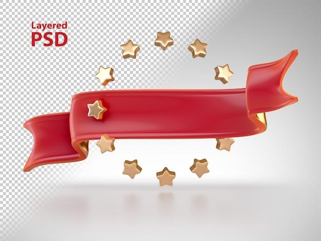 Ruban rouge 3d avec des étoiles dorées