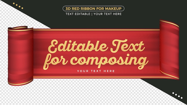 Ruban de tissu 3d avec texte modifiable pour la composition