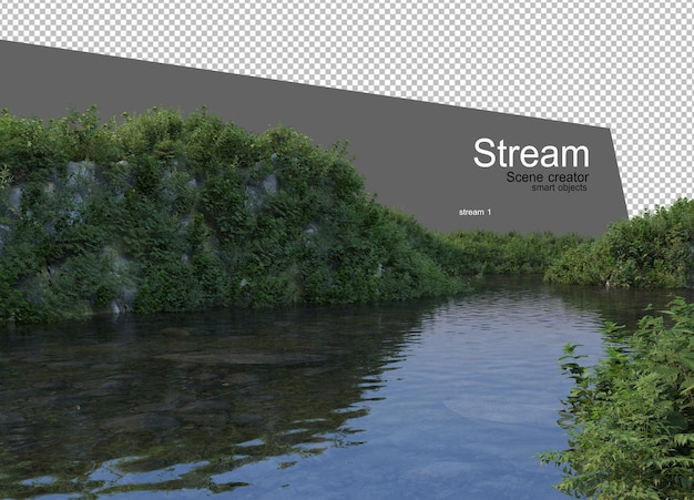 Ruisseau sinueux qui traverse l'herbe variété d'espèces