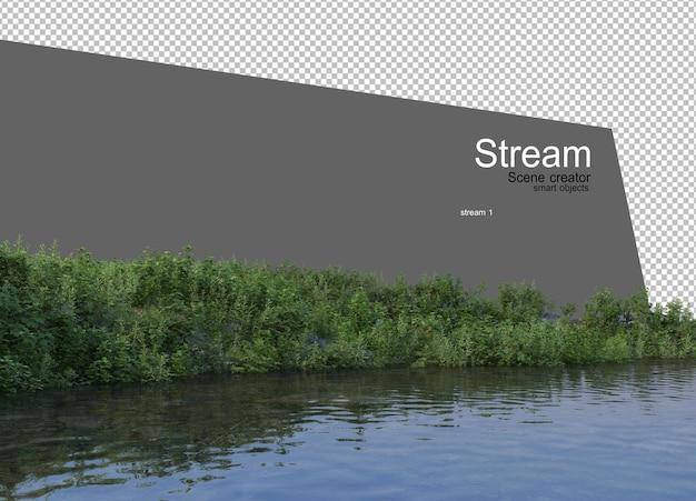 Ruisseau Sinueux Qui Traverse L'herbe Variété D'espèces PSD Premium