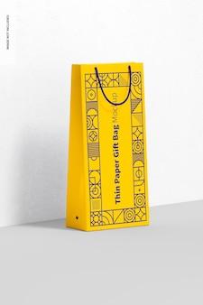 Sac-cadeau En Papier Fin Avec Maquette De Poignée En Corde, Vue De Droite PSD Premium