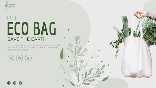 Sac écologique pour légumes et bannière de magasinage