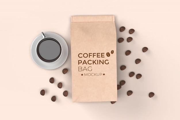 Sac d'emballage de café avec maquette de tasse psd