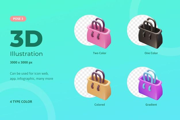 Sac fourre-tout illustration icône set 3d, utilisé pour le web, application mobile, infographie, etc.
