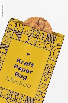 Sac en papier kraft avec maquette de cookie, gros plan