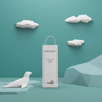 Sac en papier kraft pour la journée de l'océan avec maquette