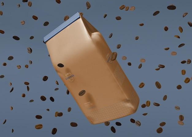 Sac en papier avec maquette de grains de café