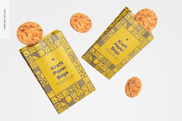 Sacs en papier kraft avec maquette de cookies