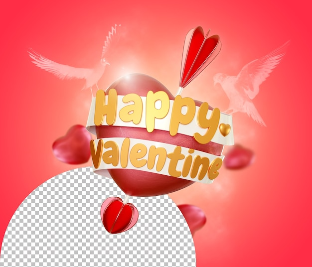 Saint valentin sur amour coeur tiré rendu isolé