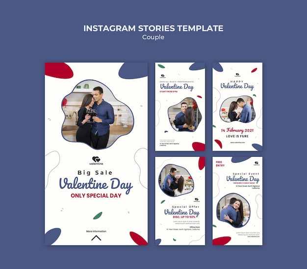 Saint valentin couple histoires instagram