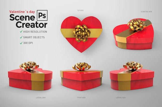 La saint-valentin. créateur de scène. boîte fermée. ressource de conception.