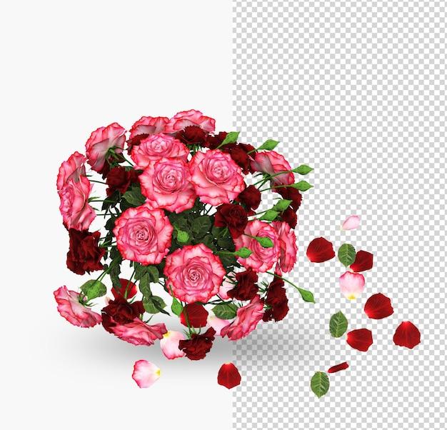 Saint valentin avec maquette de décoration de roses