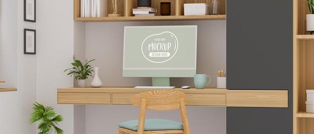 Salle de bureau à domicile confortable avec bureau d'ordinateur, étagère et décorations, rendu 3d, illustration 3d