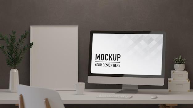 Salle de bureau à domicile de rendu 3d avec ordinateur maquette cadre et fournitures sur la table